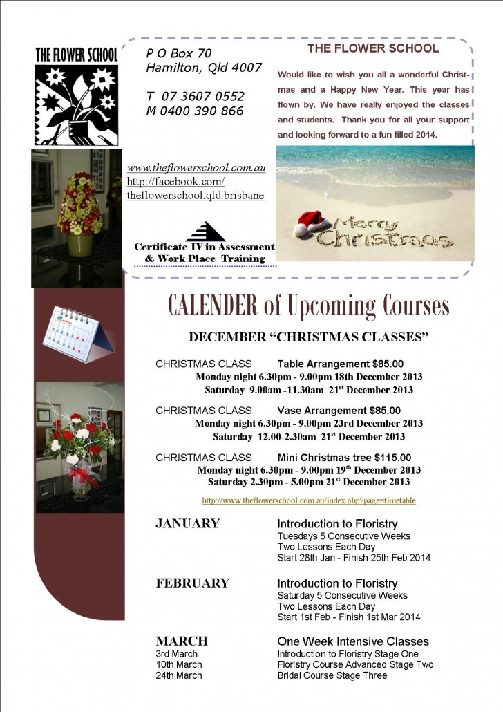 FLOWER SCHOOL NEWSLETTER December 2013