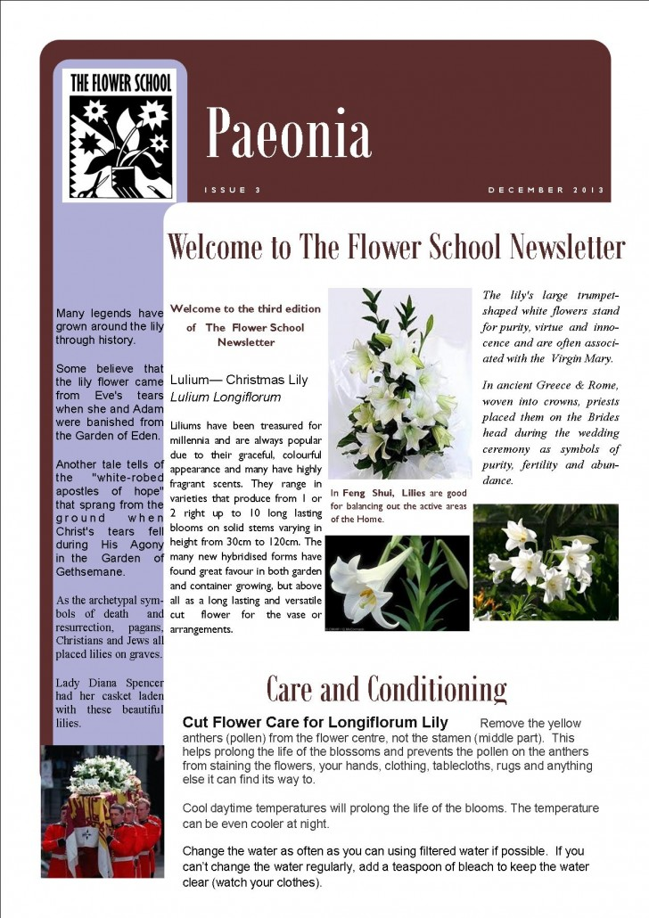 FLOWER SCHOOL NEWSLETTER December 2013 PAGE 1
