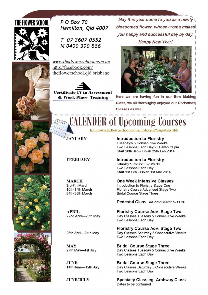 FLOWER SCHOOL NEWSLETTER January 2014