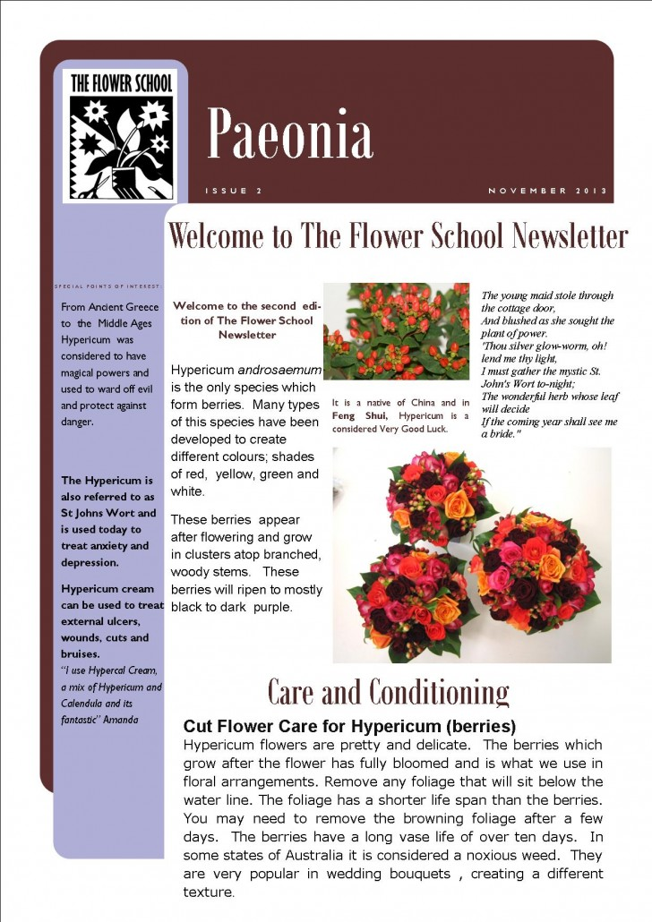 FLOWER SCHOOL NEWSLETTER November 2013 Page 1 & 2