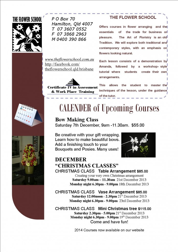 FLOWER SCHOOL NEWSLETTER November 2013 Page 2