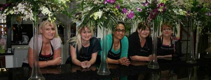 Group shot with tall vases