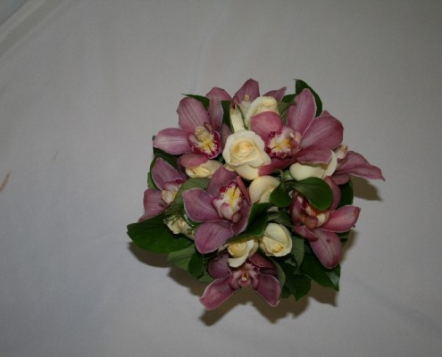 Rachel Bridal hand tied with cymbidium orchids